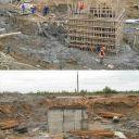 начало строительства пизанской башни - залили цоколь уже криво